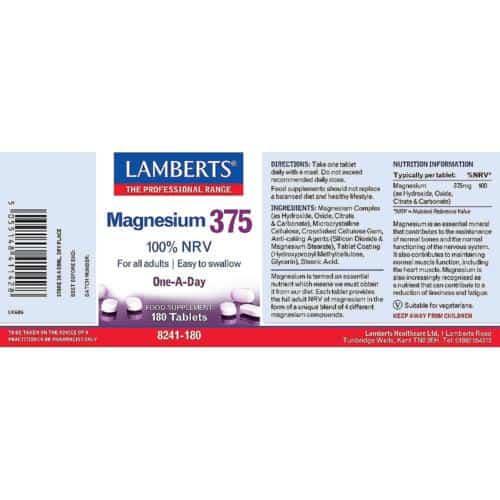 Magnesium 375 label