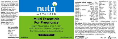 Nutri Multi-Essentials for Pregnancy label