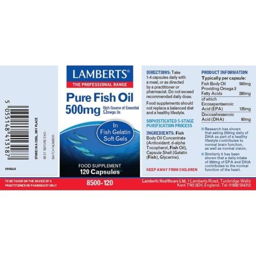 Pure Fish Oil 500 mg label